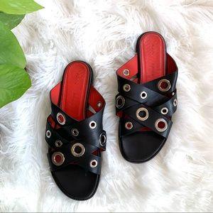 Proenza Schouler Grommet Flat Sandal Black & Red